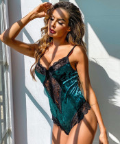 Sexy Lace Patch Green Velvet Teddy Dessous