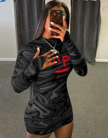 Robe mini club noire à manches longues et imprimé sexy