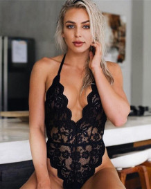 Lingerie Sexy Full Lace High Cut Deep-V Halter Teddy