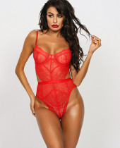 Sexy Red Lace Strap Teddy Dessous