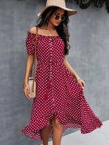Off Shoulder Polka Print Elegantes langes Kleid mit kurzen Ärmeln