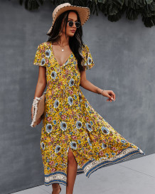 Elegant V-Neck Floral Long Dress with Short Sleeves