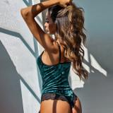 Lencería de peluche de terciopelo verde con parche de encaje sexy