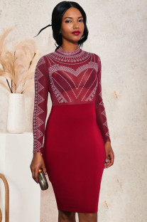 Formelle Red Mesh Patch Perlen Langarm Midi Kleid