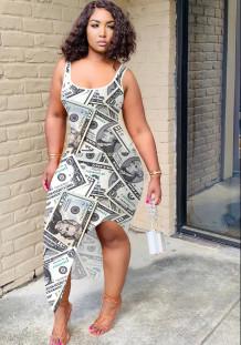 Vestido sin mangas largo irregular con estampado de dólar sexy