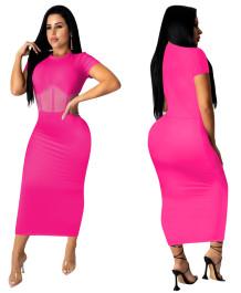 Vestido midi de manga corta con parche de malla rosa