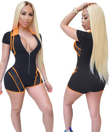 Sports Mesh Patch Short Sleeves Front Zipped Bodycon Rompers