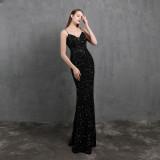 Formale Pailletten Strap Mermaid Abendkleid