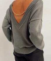 Maglione pullover sciolto a maniche lunghe con schiena a V primavera