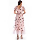Formales rosa Erdbeer-langes Abschlussballkleid