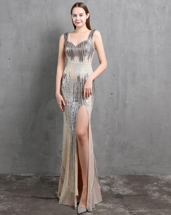 Vestido de noche de sirena sin mangas con abertura de lentejuelas formales