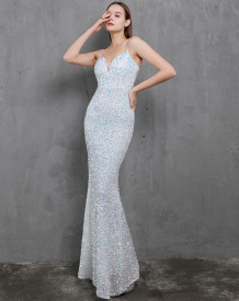 Formal Sequins Strap Mermaid Evening Dress