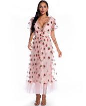 Vestido de formatura formal rosa morango