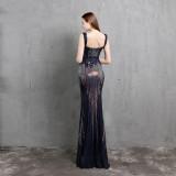 Formale Pailletten Schlitz ärmelloses Meerjungfrau Abendkleid