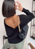 Spring V-Back Langarm-Pullover mit lockerem Pullover