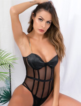 Sexy Black Mesh Patch Strap Teddy Dessous