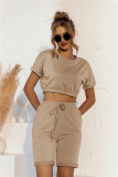 Summer Solid Color Crop Top und Shorts Lounge Set