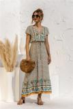 Sommerliches Kleid mit V-Ausschnitt und kurzem Ärmel und V-Ausschnitt