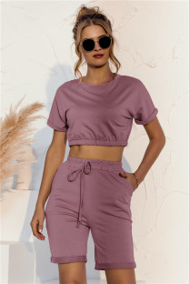 Summer Solid Color Crop Top und Shorts Lounge Set