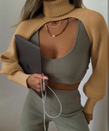 Haut cape tricoté à col rabattu Street Style à manches longues