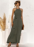 Vestido largo halter elegante de color sólido de verano