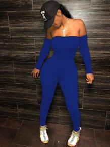 Feestblauwe bodycon-jumpsuit met lange mouwen en strapless