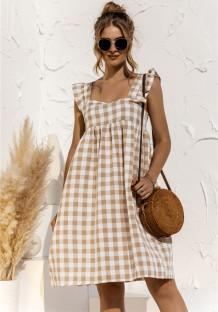 Robe courte a-ligne imprimée à carreaux d'été