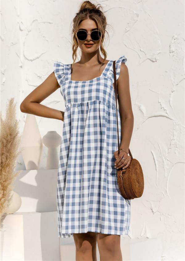 Sommer Plaid Print Wide Strap A-Line Kurzes Kleid