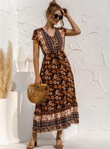 Vestido largo con cuello en V y estampado bohemio de verano con mangas cortas
