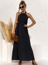 Vestido longo elegante de cor sólida para verão