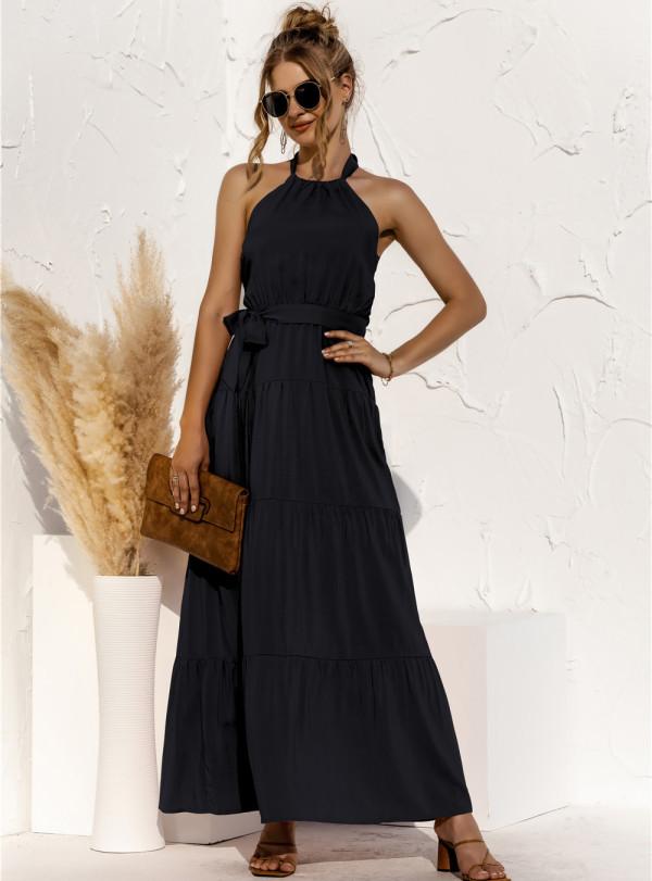 Summer Solid Color Elegant Halfter Langes Kleid