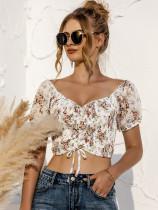 Summer Floral Print Ruched Strings Crop Top
