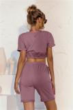 Conjunto de salón con pantalón corto y top corto de color sólido de verano