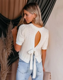 Sexy White Cut Out Tied Back Crop Sweater