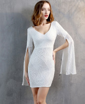 Yarık Kollu Resmi V Yaka Pullu Mini Elbise