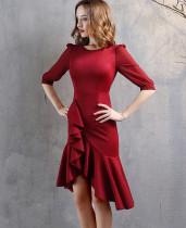 Formal Half Sleeve Solid Plain Irregular Mermaid Cocktail Dress