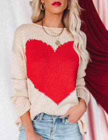 Casual O-Neck Long Sleeve Heart Pullover Sweater