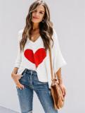 Suéter casual con cuello en V y manga de murciélago en forma de corazón