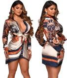 Vestido de blusa con escote en V profundo y estampado retro de manga larga sexy
