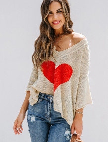 Casual V-Neck Bat Sleeve Heart Pullover Sweater