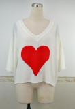 Lässiger Herz-Pullover mit Fledermausärmeln und V-Ausschnitt