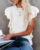 Lässiger ärmelloser Pullover mit O-Ausschnitt und Rüschenpullover
