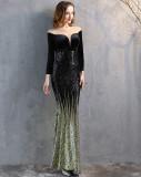 Formale Langarm Patch Samt Pailletten Meerjungfrau Abendkleid