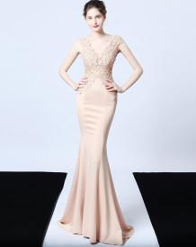 Formelles ärmelloses Abendkleid für Meerjungfrauen mit V-Ausschnitt