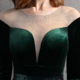 Vestido de noche de sirena de lentejuelas de terciopelo con parche de manga larga formal