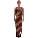 Summer Tiger Print Seitenschlitz Elegantes Halfter Langes Kleid
