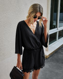Summer Casual Lace Patch Wrapped Rompers with Wide Sleeves