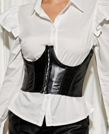 Sexy Black Leather Underbust Bustier Tops