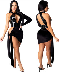 Sexy Black Leather Patch Cut Out Irregular Party Dress