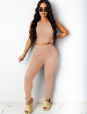 Summer Sexy Bodycon Crop Vest and High Waist Legging Set